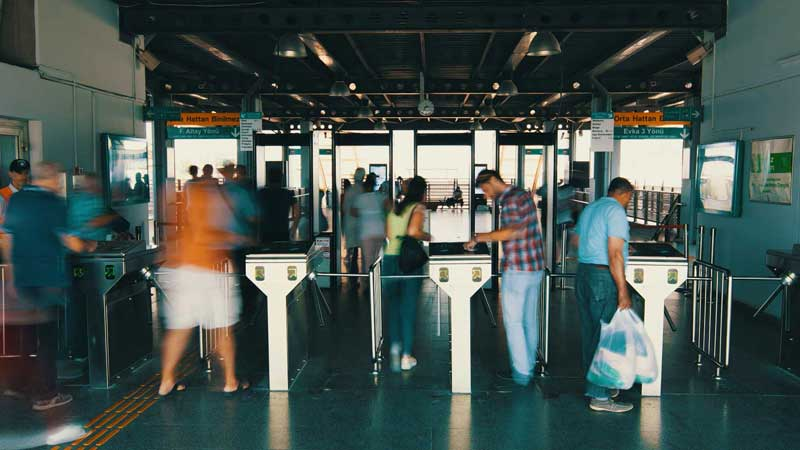 Turnstiles at train station, Izmir, Turkey