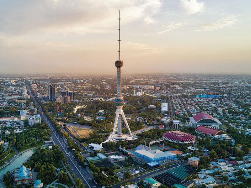 Tashkent TV tower, sunset, Uzbekistan