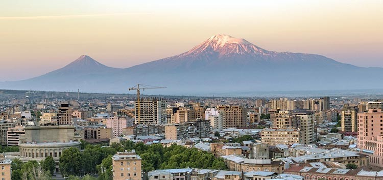 Yerevan, Armenia, with Ararat Mountain in the background