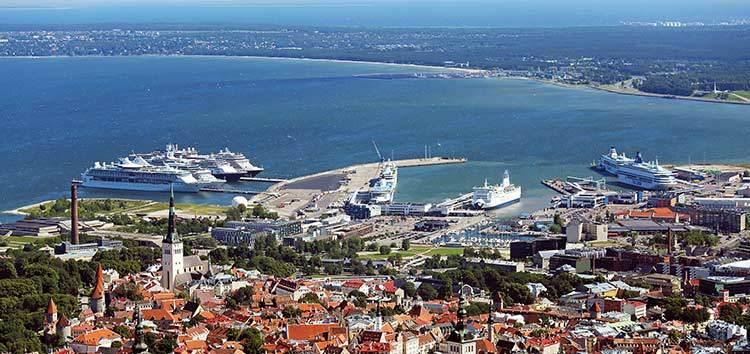 Aerial view of Port of Tallinn, Estonia