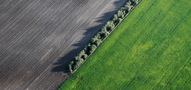 Aerial view of organic farm, Lithuania